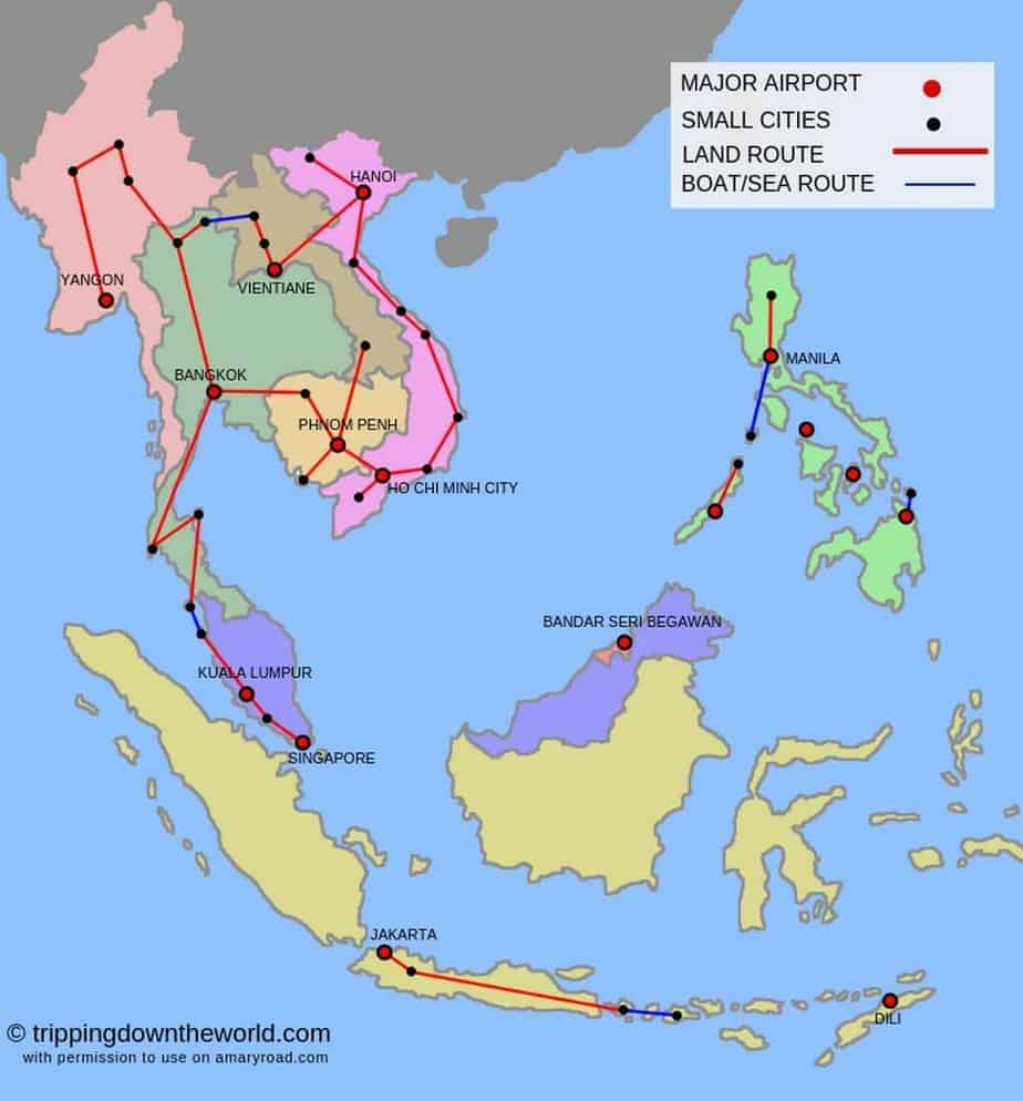 2019] Southeast Asia Travel Route and Itineraries: From 2 ... on travel line map, travel area map, travel time map, travel blog map,