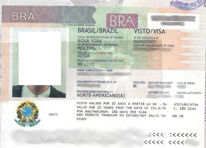 Brazil visa application online - Brazil visa sticker
