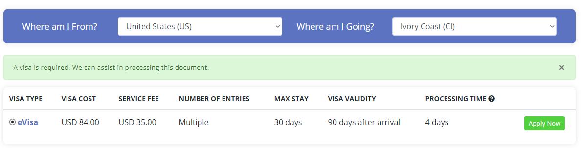 Ivory Coast visa - how to get an Ivory Coast evisa