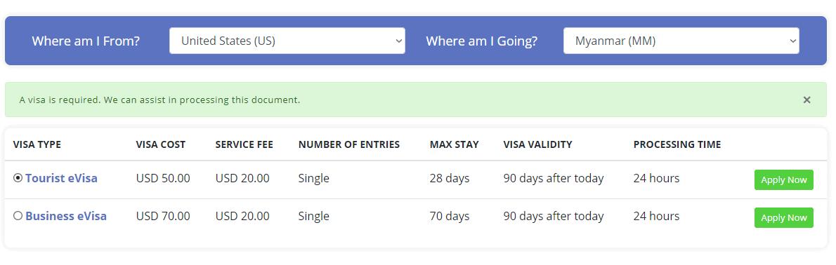 Myanmar visa guide - how much is myanmar evisa