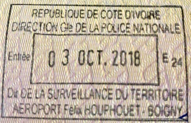 Ivory Coast visa stamp entry