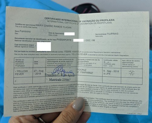 Yellow Fever Certificate from Brazil -  Vaccinations For Southeast Asia- Travel vaccines costs, where to get
